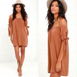 Lulu's Brown Off The Shoulder Mini Dress